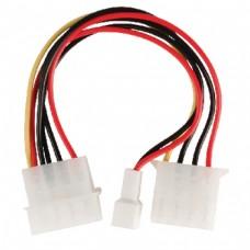 Intern strømadapterkabel med Molex-hannkontakt – Molex-hunnkontakt + 3-pins viftestrøm, 0,15 m, flerfarget