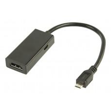 MHL-adapterkabel USB 5-pinner Micro B hann - HDMI-utgang + USB Micro B hunn 0,20 m svart