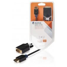 DisplayPort – DVI-kabel, DisplayPort-hann – DVI-D-hann, 2,00 m, grå