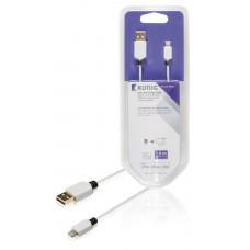 Kabel for synkronisering og lading, 8-pins, Lightning-hann – USB 2.0, A-hann, 1,00 m, hvit