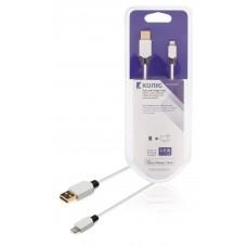 Kabel for synkronisering og lading, 8-pins, Lightning-hann – USB 2.0, A-hann, 2,00 m, hvit