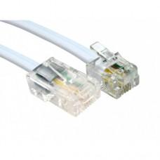 Telefonkabel 6/8pin ISDN hvit 4m